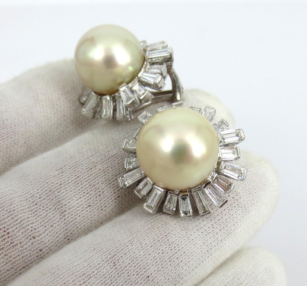 ◆美品◆5.0ct バゲットカット ダイヤモンド◆《13.5mm 南洋パール 真珠》【14金ホワイトゴールド 14K】《イヤリング》_画像9