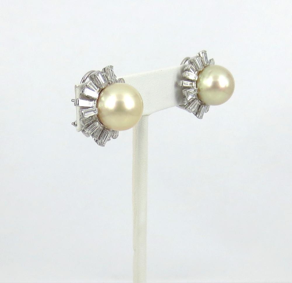 ◆美品◆5.0ct バゲットカット ダイヤモンド◆《13.5mm 南洋パール 真珠》【14金ホワイトゴールド 14K】《イヤリング》_画像4
