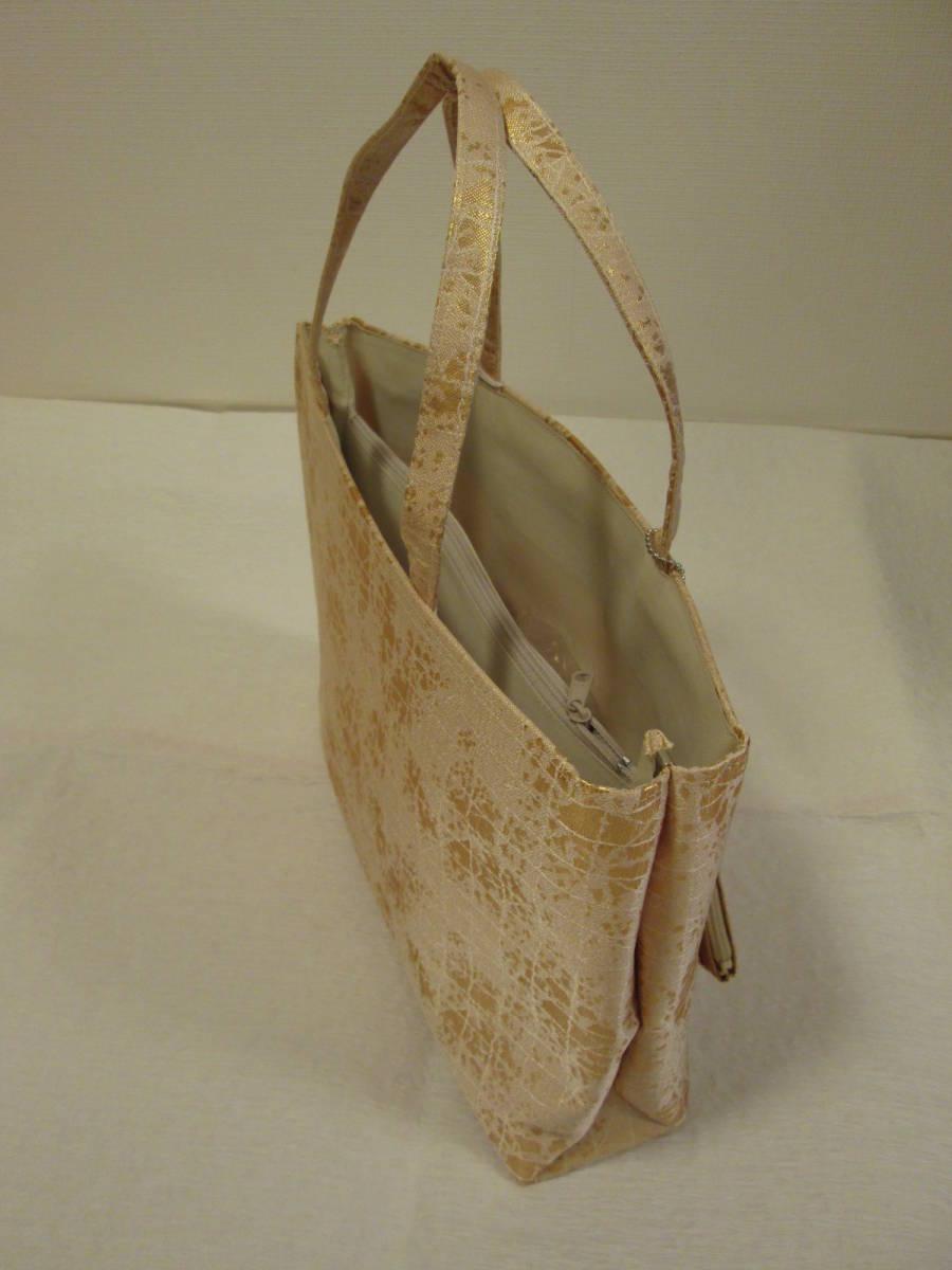 和装バッグ 新品未使用 ゴールド ミニポーチ付き A4サイズ_画像3