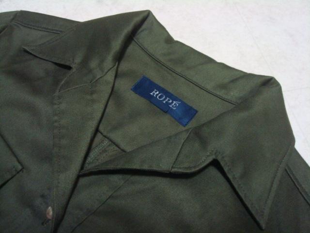 ■ 美品 ROPE ロペ ジュン 日本製 カーキ 綿 コットン シャツ型 ワンピース 長袖 7分袖 7AR 7号 1号 36号 Sサイズ ジャンパースカート _画像8
