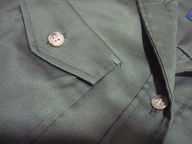 ■ 美品 ROPE ロペ ジュン 日本製 カーキ 綿 コットン シャツ型 ワンピース 長袖 7分袖 7AR 7号 1号 36号 Sサイズ ジャンパースカート _画像7