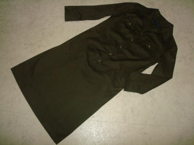 ■ 美品 ROPE ロペ ジュン 日本製 カーキ 綿 コットン シャツ型 ワンピース 長袖 7分袖 7AR 7号 1号 36号 Sサイズ ジャンパースカート _画像4