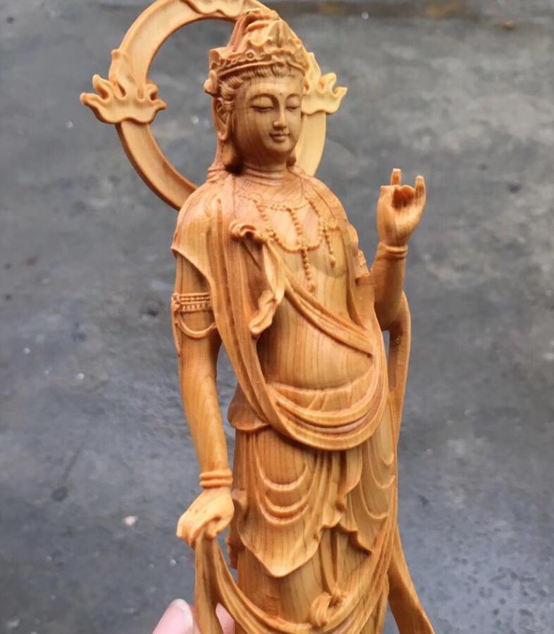 極品 カリン 木彫り観音菩薩仏像 置物 手作り 実木 彫刻工芸品 風水開運 高級な収蔵品 総高:24cm SOO-J_画像5