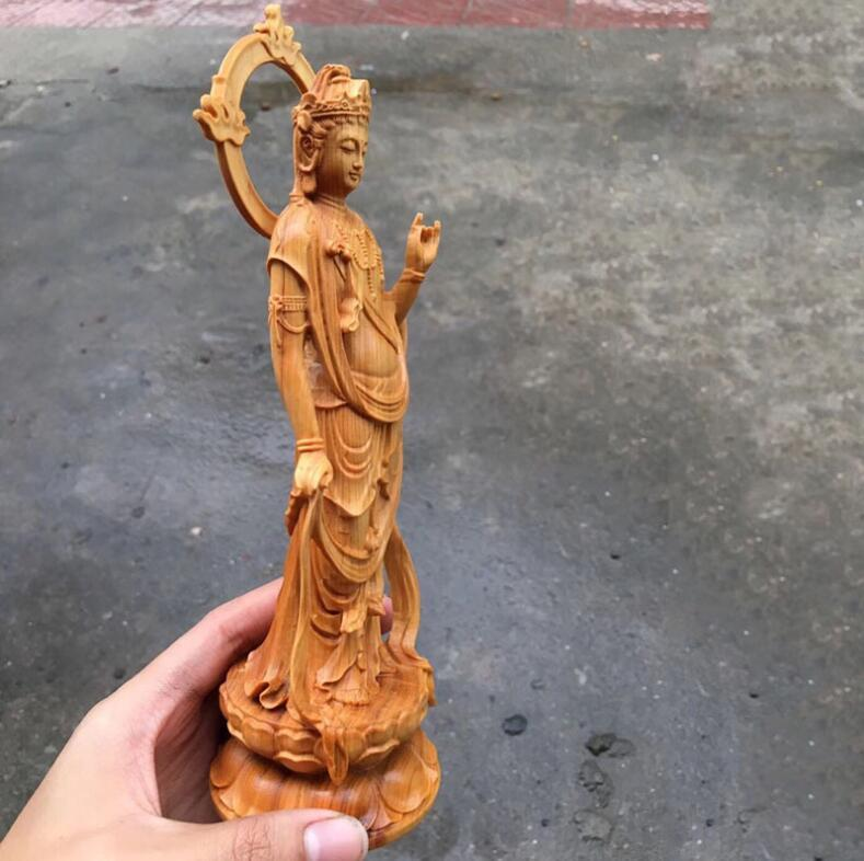 極品 カリン 木彫り観音菩薩仏像 置物 手作り 実木 彫刻工芸品 風水開運 高級な収蔵品 総高:24cm SOO-J_画像2