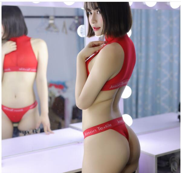 国内即納超セクシー 透ける素材の(トップス+短パン2点セット)超肌触りのいいシースルー素材レースクイーン胸魅せ体操服 赤P352_画像4