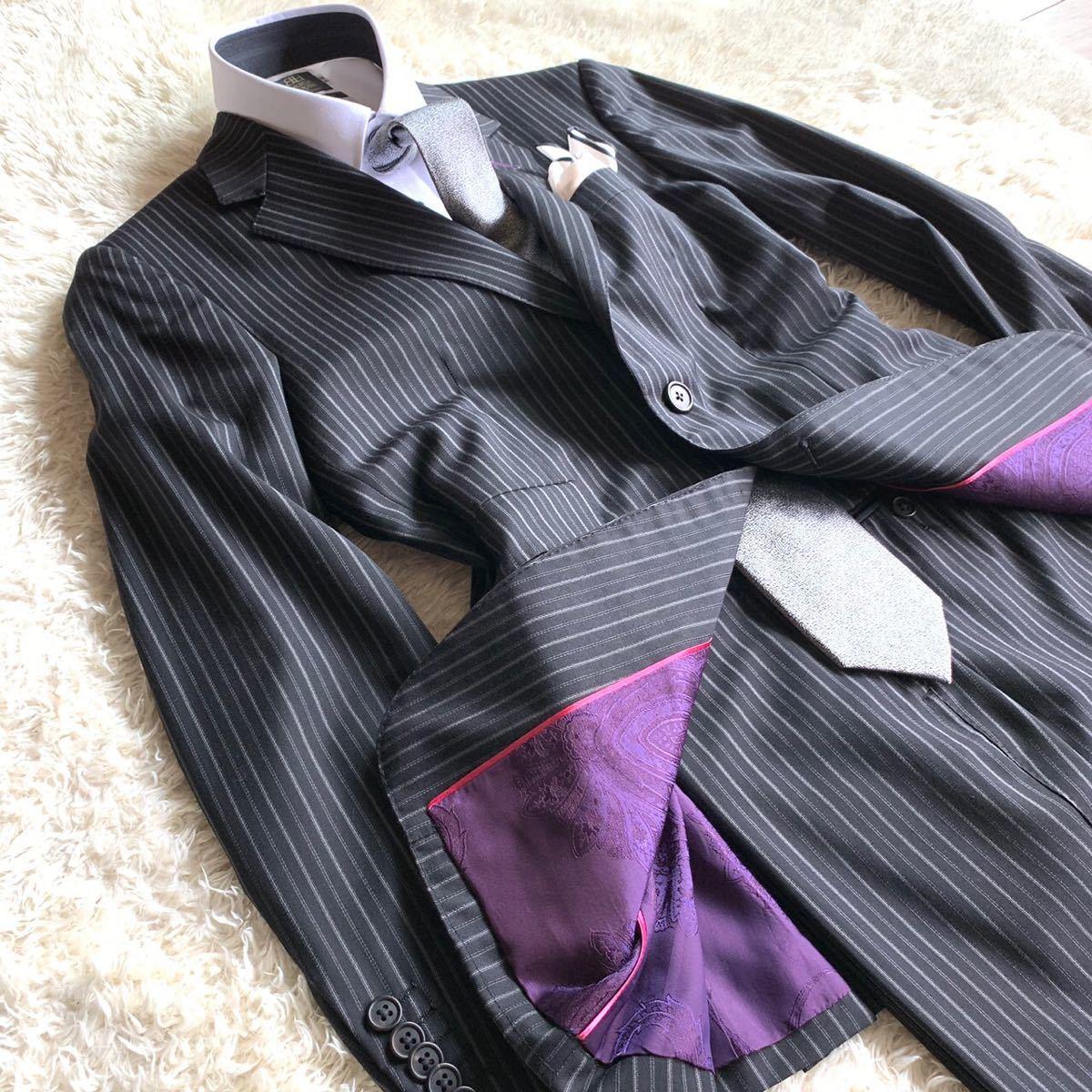 【裏地鮮やか】★伊製 ゼニア ×Paul Smith LONDON ポールスミス ロンドン シングルスーツ セットアップ メンズ ストライプ柄 Mサイズ_画像3