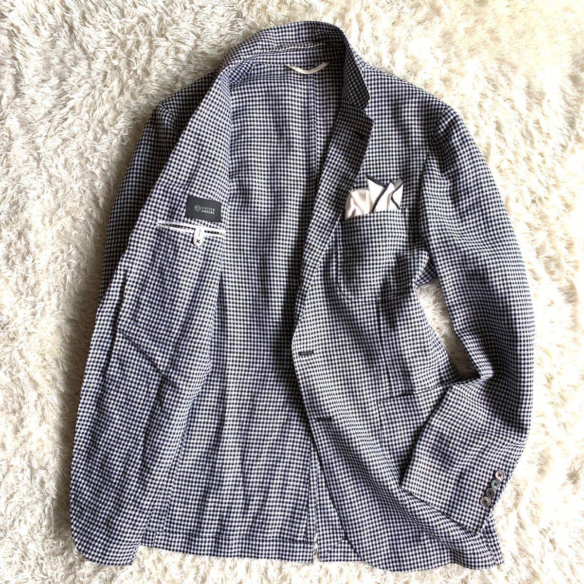 【麻100%】★ユナイテッドアローズ 千鳥格子柄 テーラードジャケット メンズ 48 L相当 サマージャケット _画像2