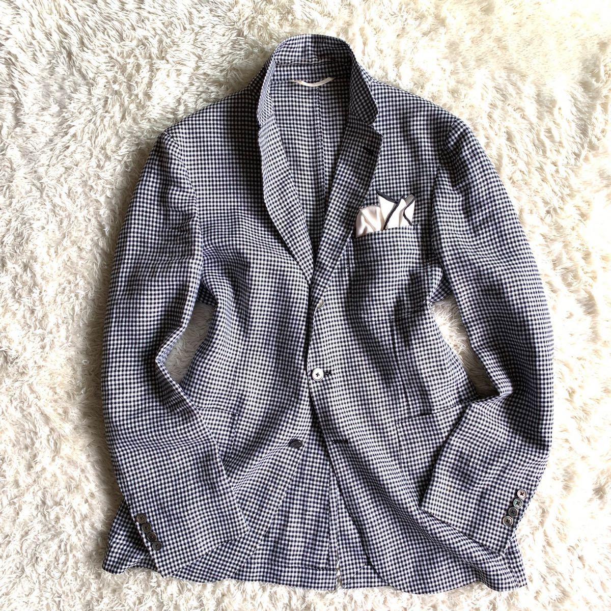 【麻100%】★ユナイテッドアローズ 千鳥格子柄 テーラードジャケット メンズ 48 L相当 サマージャケット
