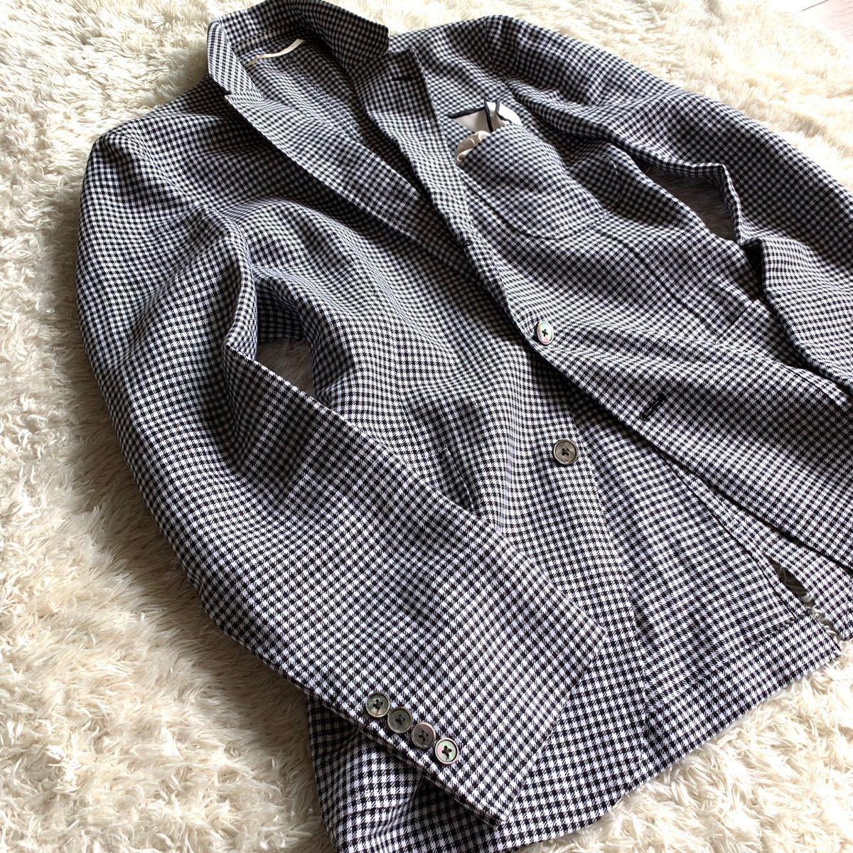 【麻100%】★ユナイテッドアローズ 千鳥格子柄 テーラードジャケット メンズ 48 L相当 サマージャケット _画像4