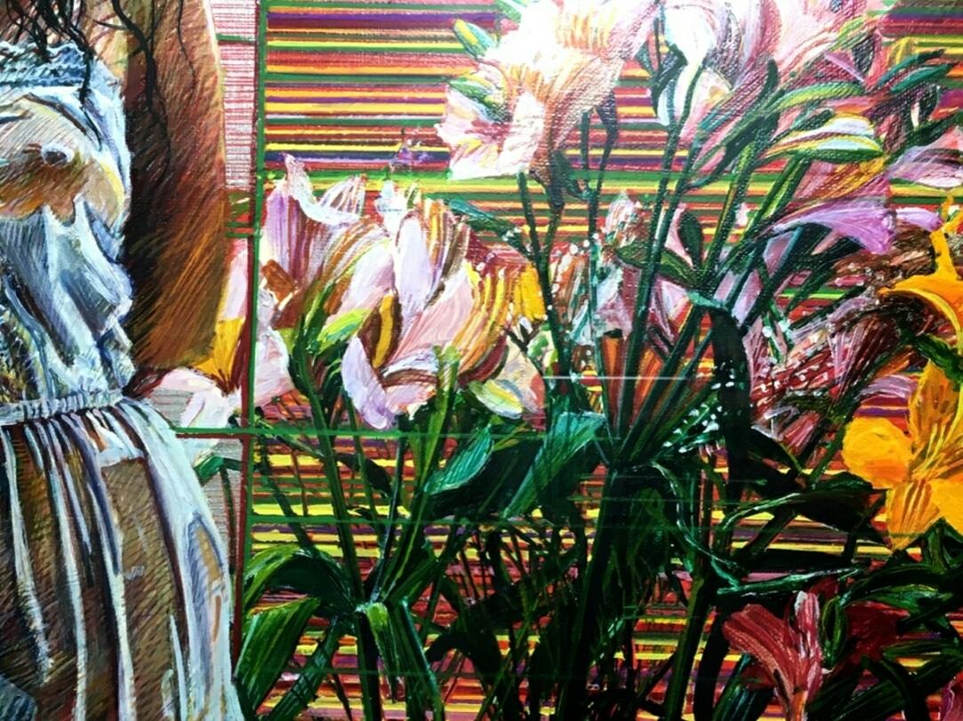 【真袖】斎藤研/花の構図(裸婦と花)図油彩額/F4/独立美術協会会員/独立展独立賞/須田賞/昭和会展優秀賞/女子美術短大学教授/東京生/川越住_画像4