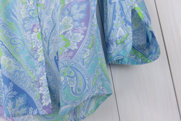 美品 ラルフローレン ペーズリー柄8分袖シャツ S_画像8