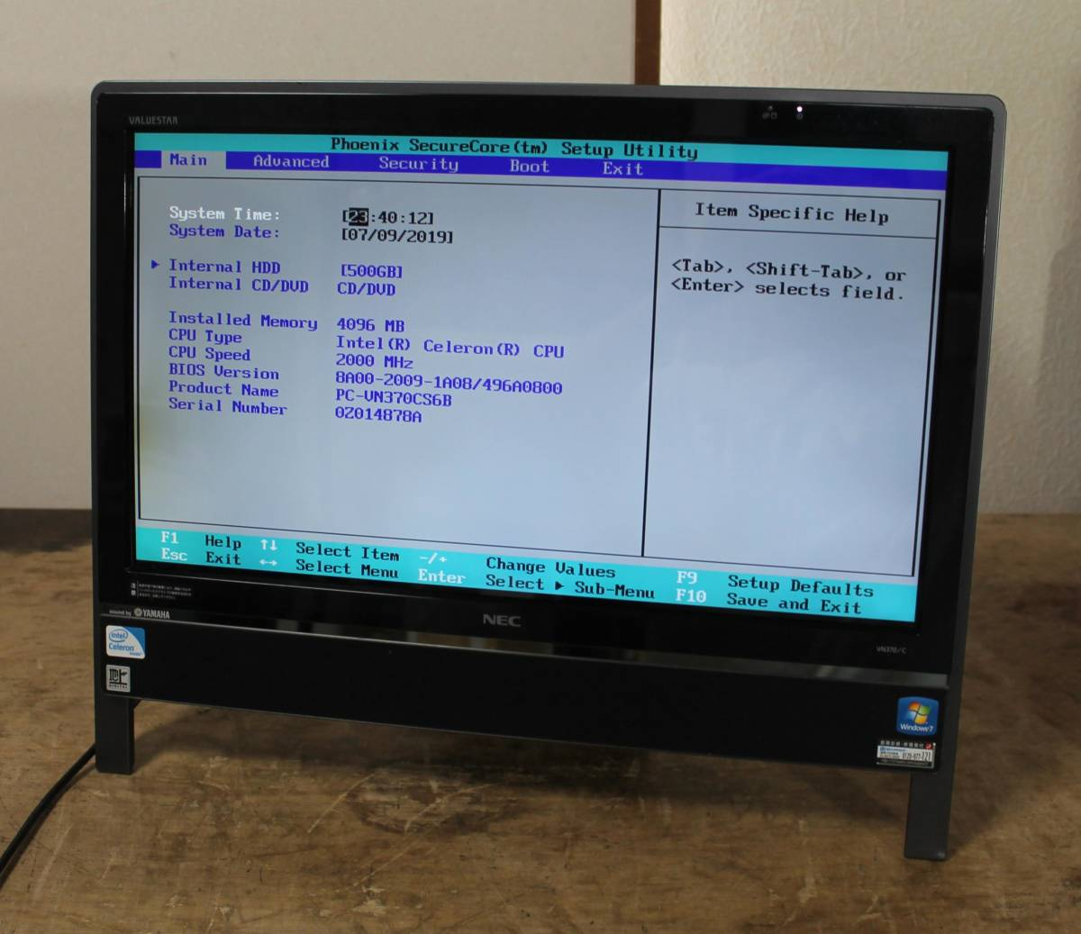 NEC VALUESTAR VN370/C PC-VN370CS6B Celeron 2.00GHz 4GB 500GB 20インチ ジャンク
