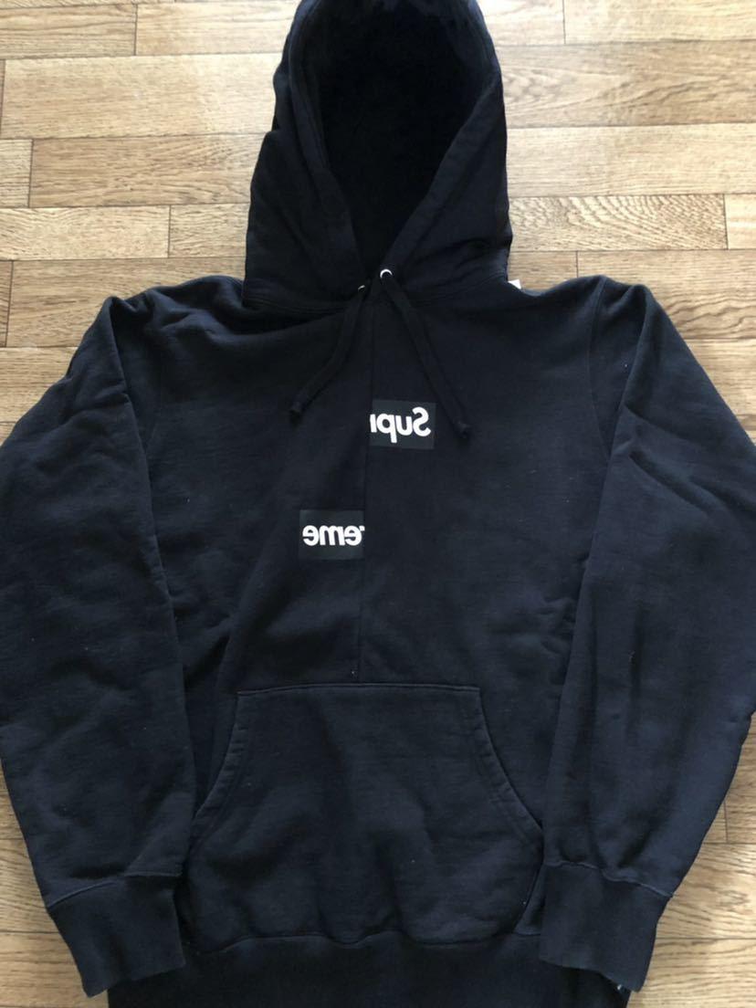 18AW Supreme COMME des GARCONS SHIRT Split Box Logo Hooded Sweatshirt シュプリーム ギャルソンパーカー Mサイズ
