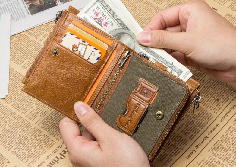 二つ折り 財布 本革 牛革 柔らかい 財布 メンズ 本革 小銭入れ 免許証入れ カード13枚収納 男性 ファッション小物 ライトブラウン/F98_画像2
