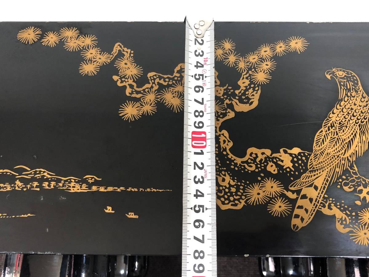 【中古】碁盤 黒漆塗り 金蒔絵 松鷹図 60号(厚さ18cm)_画像10