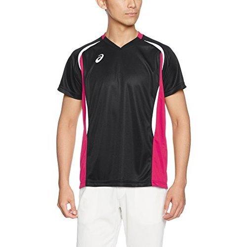 定価3564円 送料無料 メンズ Oサイズ アシックス バレーボール シャツ 半袖 XW1325 ブラック 黒 ピンク ユニフォーム asics ウェア LL XL_画像2