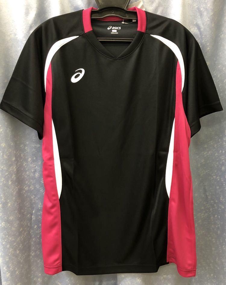 定価3564円 送料無料 メンズ Oサイズ アシックス バレーボール シャツ 半袖 XW1325 ブラック 黒 ピンク ユニフォーム asics ウェア LL XL_画像5