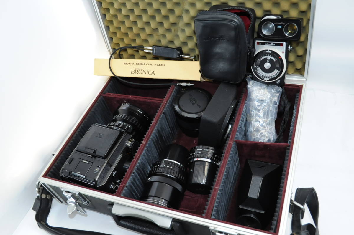 【ecoま】ブロニカ BRONICA EC 40mmF4/75mmF2.8/200mmF4/中間リング・ハードケースセット 中判カメラ