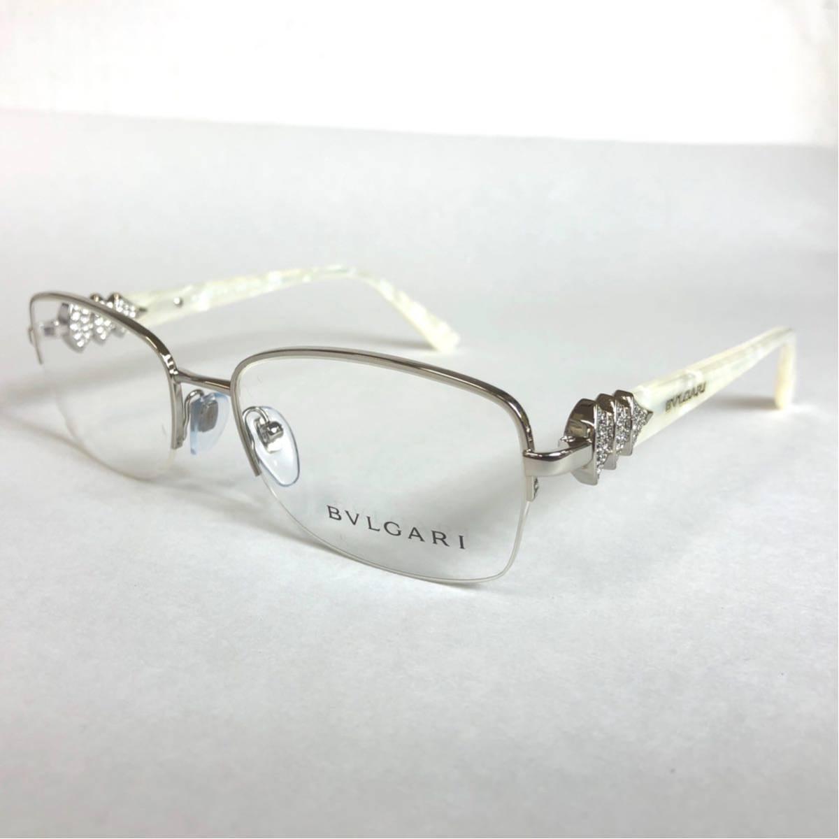 未使用 新品 BVLGARI 正規品 1円スタート ハーフリム 眼鏡フレーム 2162-B ホワイトマーブル めがね ブルガリ イタリア製 N38