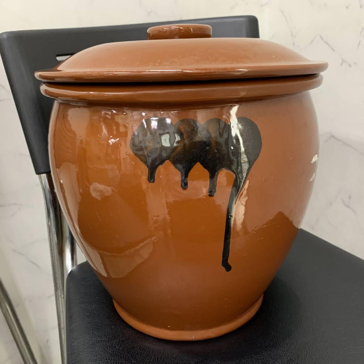 1、常滑焼 久松窯 梅干し壺 漬物容器 かめ 漬物 らっきょ 梅干 味噌 蓋付 経年保管品_画像2