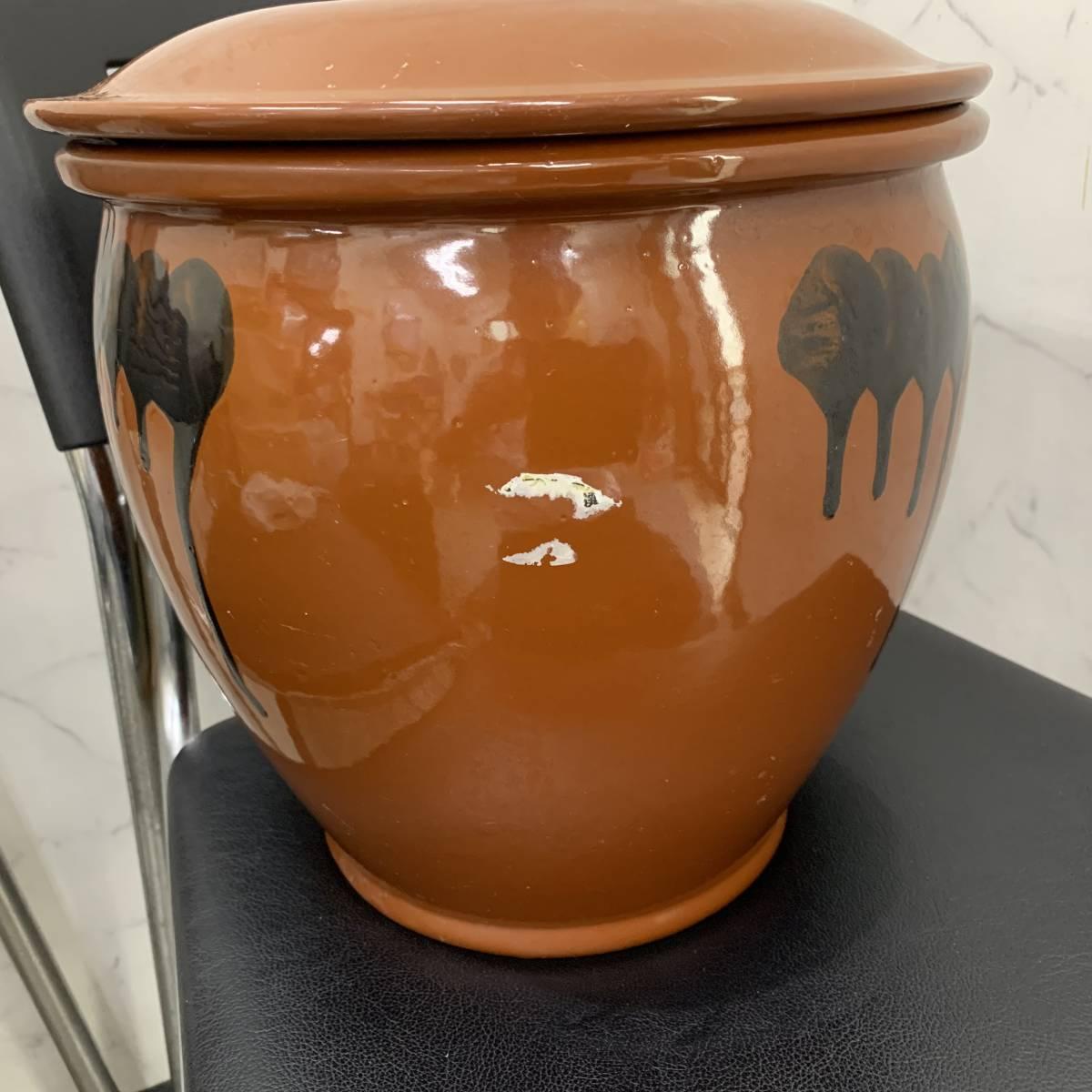 1、常滑焼 久松窯 梅干し壺 漬物容器 かめ 漬物 らっきょ 梅干 味噌 蓋付 経年保管品_画像3