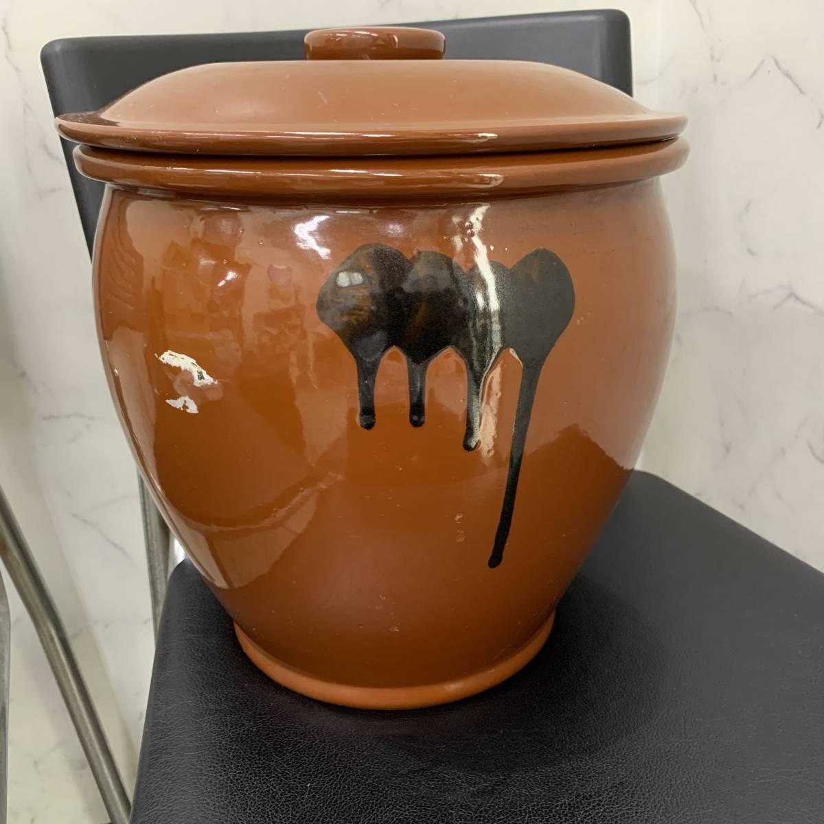 1、常滑焼 久松窯 梅干し壺 漬物容器 かめ 漬物 らっきょ 梅干 味噌 蓋付 経年保管品_画像4