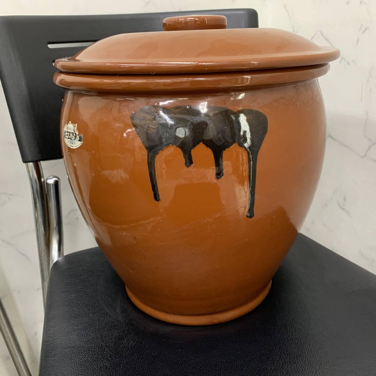 2、常滑焼 久松窯 梅干し壺 漬物容器 かめ 漬物 らっきょ 梅干 味噌 蓋付 経年保管品_画像1