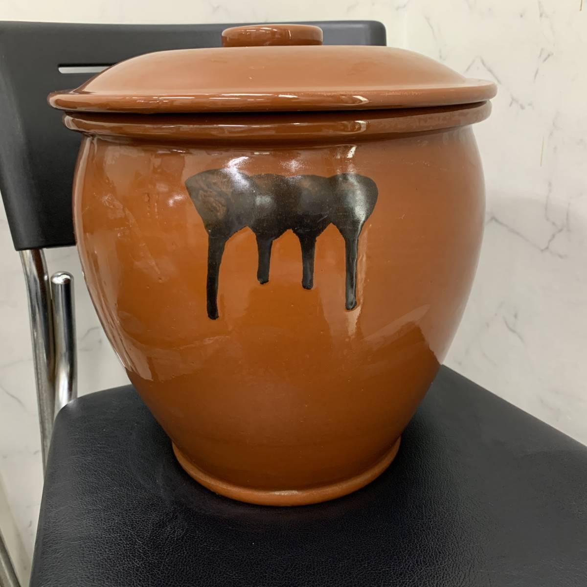 2、常滑焼 久松窯 梅干し壺 漬物容器 かめ 漬物 らっきょ 梅干 味噌 蓋付 経年保管品_画像2