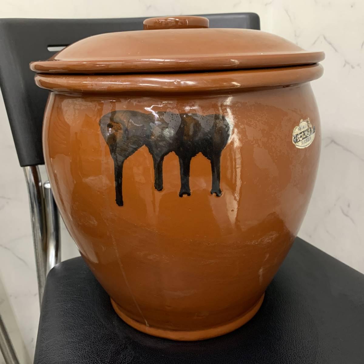 2、常滑焼 久松窯 梅干し壺 漬物容器 かめ 漬物 らっきょ 梅干 味噌 蓋付 経年保管品_画像3