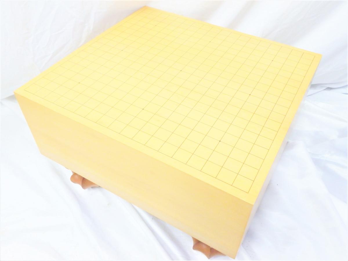 42JAV 【碁盤&碁石セット 榧雌木 樹齢約900年】 厚み17㎝ 板目木裏 板目 足つき盤 蛤 那