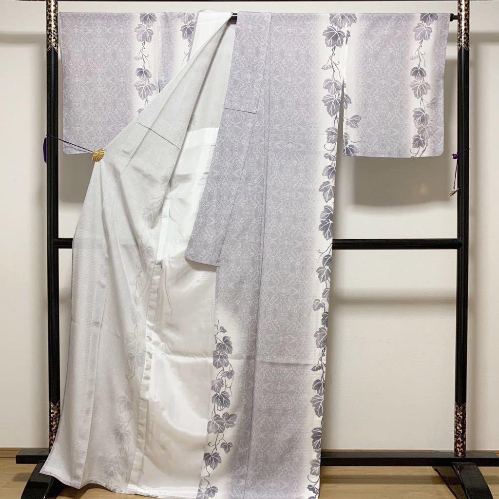 逸品 ぼかし染 五本絽 可憐な蔦草文様の付下げ 未使用品 正絹 居敷当て付き 夏着物_画像5