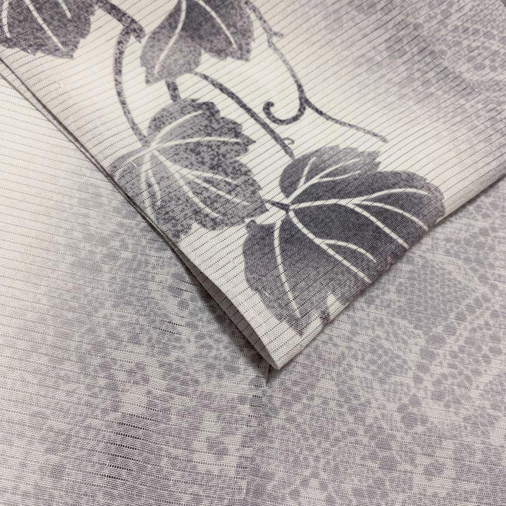 逸品 ぼかし染 五本絽 可憐な蔦草文様の付下げ 未使用品 正絹 居敷当て付き 夏着物