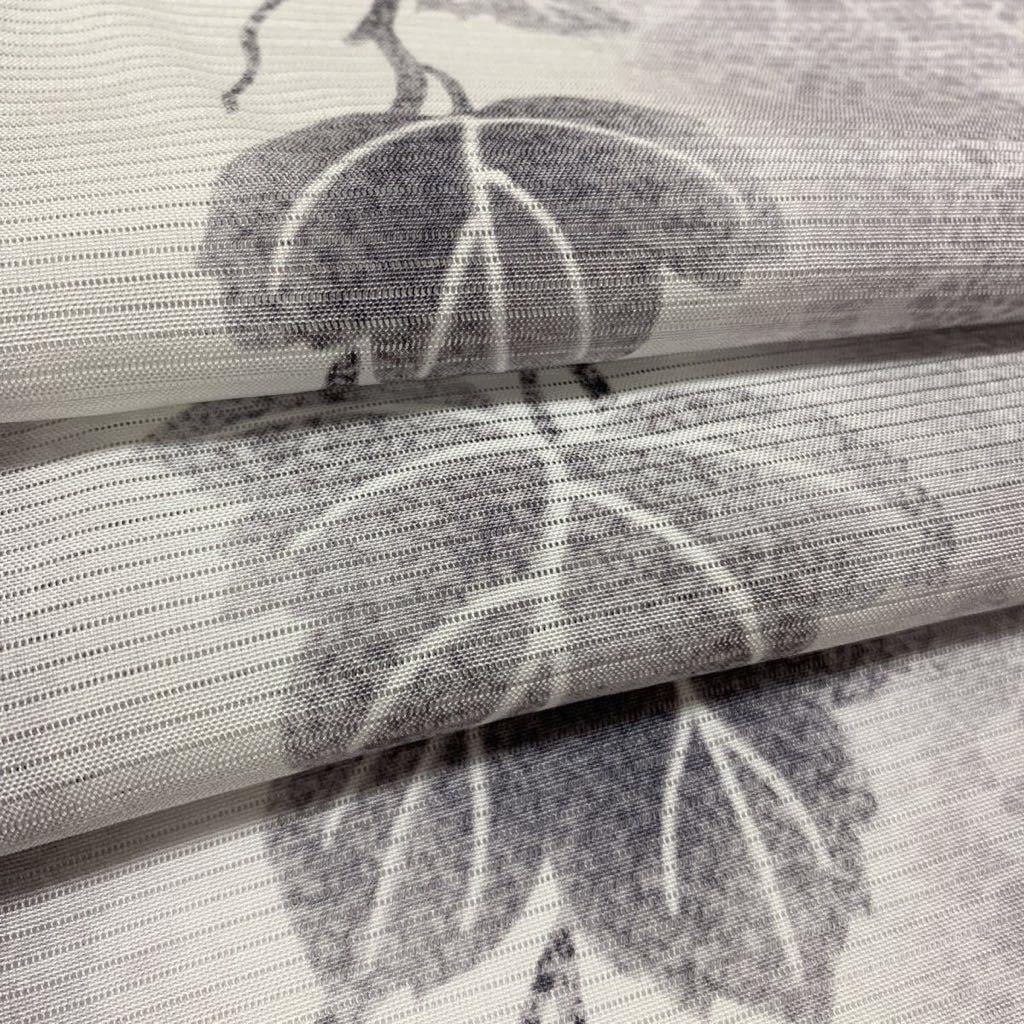 逸品 ぼかし染 五本絽 可憐な蔦草文様の付下げ 未使用品 正絹 居敷当て付き 夏着物_画像9