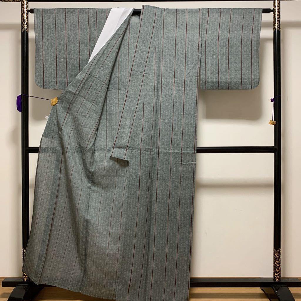 逸品 本場夏塩沢 正絹 絽衿裏:化繊 伝統工芸品 夏着物_画像5