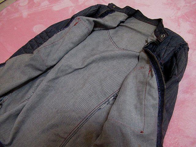 ♪60S ビンテージ キルティング付き グリッパージップ 薄手デニム ワークジャケット米製L_画像5