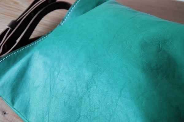 hand made leather bag all leather leather man and woman use extremely thick steering wheel futoshi count stitch shoulder bag soft 1809 Green