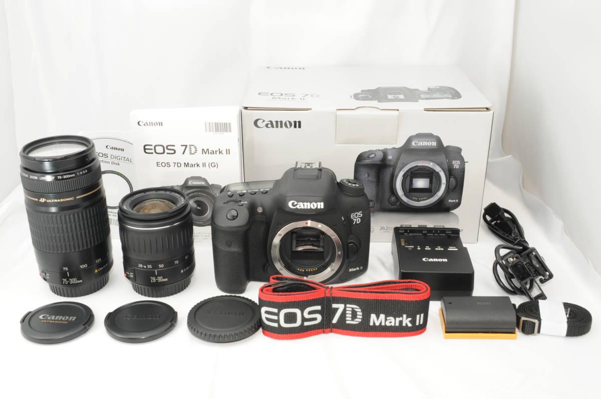 ★新品級★ Canon キヤノン EOS 7D Mark II マーク 2 標準&望遠ダブルレンズセット ワンオーナー 新品と見間違う程のきれいなボディ #001