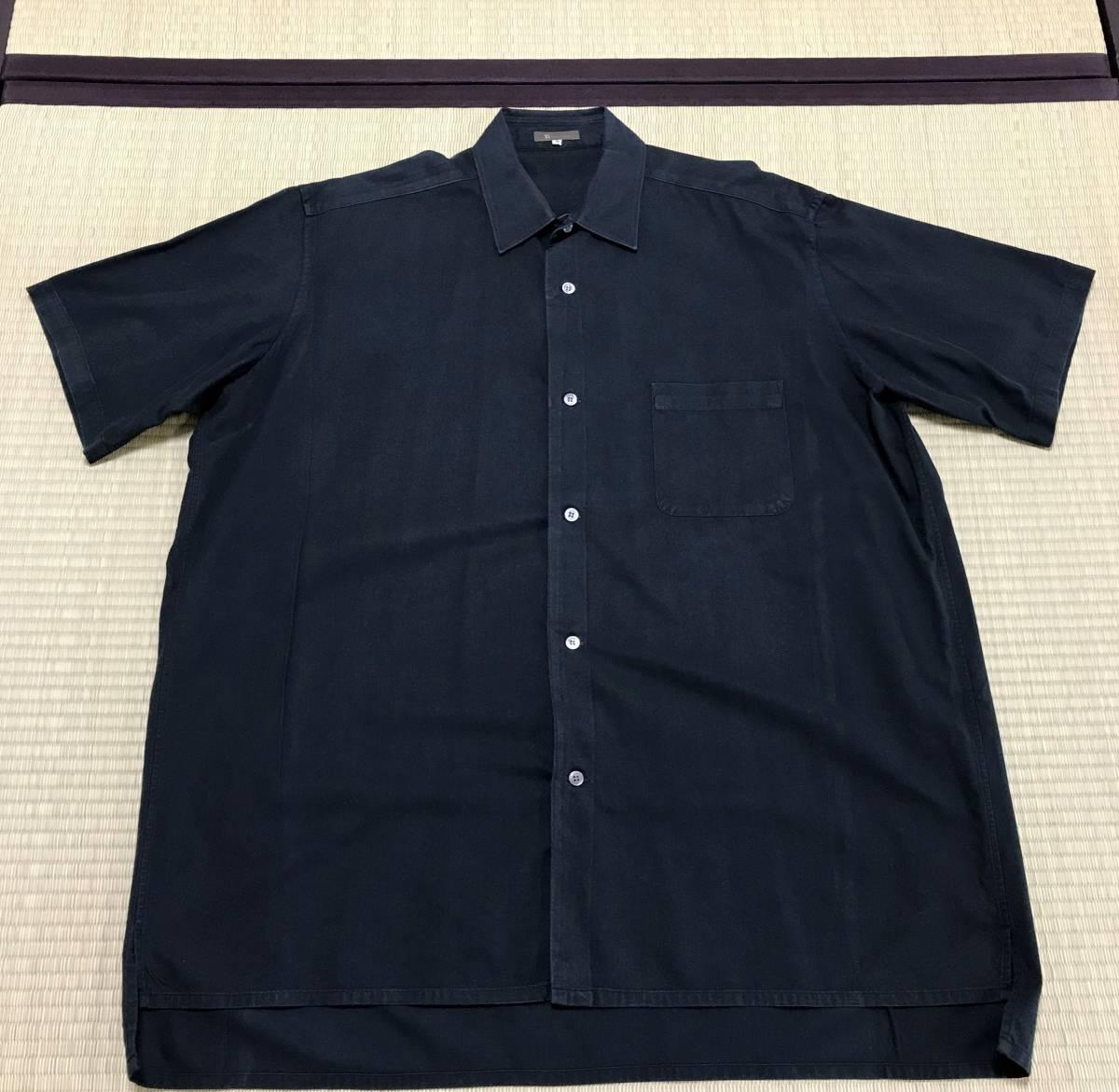 Y's for men ヨウジヤマモト 定番 ビックシルエット スクエア半袖シャツ 黒