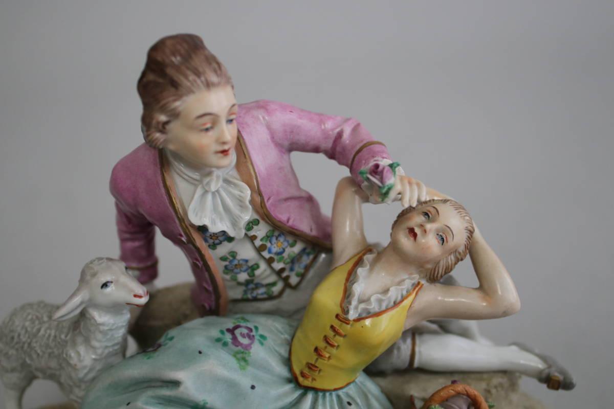 シッツェンドルフ 男性 女性 羊 レース ドール フィギュリン 陶器人形_画像5