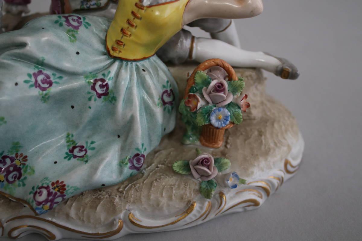 シッツェンドルフ 男性 女性 羊 レース ドール フィギュリン 陶器人形_画像6