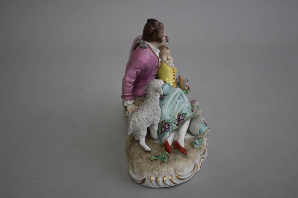 シッツェンドルフ 男性 女性 羊 レース ドール フィギュリン 陶器人形_画像4