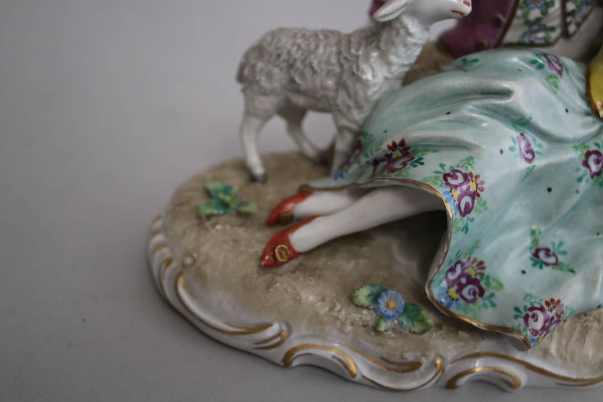 シッツェンドルフ 男性 女性 羊 レース ドール フィギュリン 陶器人形_画像7