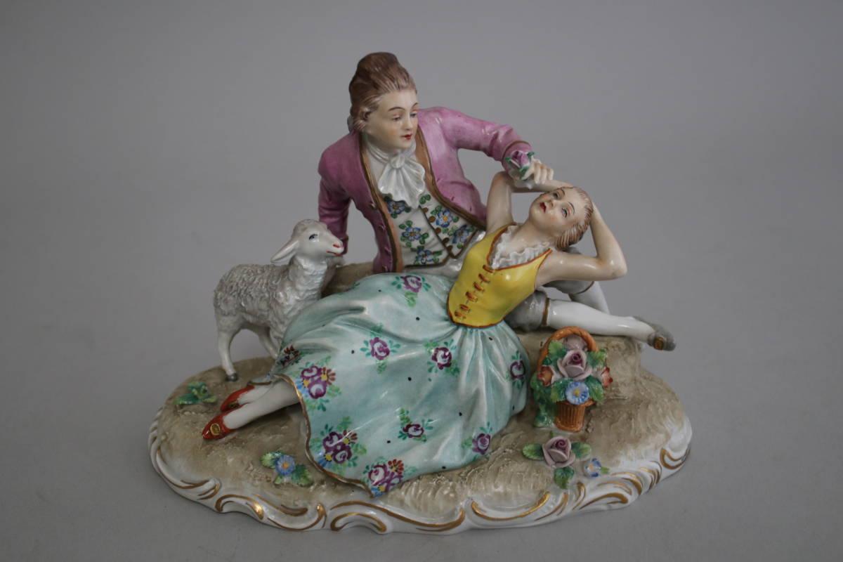 シッツェンドルフ 男性 女性 羊 レース ドール フィギュリン 陶器人形