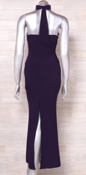 カラードレス ロングドレス ホルターネックドレス 舞台衣装 中古 紫 黒_画像3