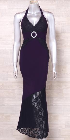 カラードレス ロングドレス ホルターネックドレス 舞台衣装 中古 紫 黒_画像2