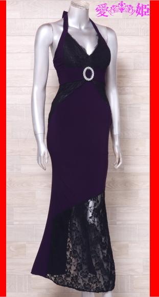 カラードレス ロングドレス ホルターネックドレス 舞台衣装 中古 紫 黒