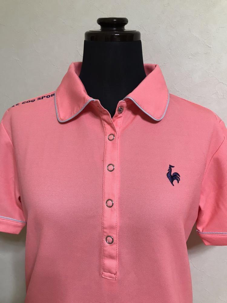 le coq sportif GOLF COLLECTION ルコック ゴルフ ウェア レディース ドライ ポロシャツ トップス サイズS 半袖 ピンク デサント QGL1651_画像3