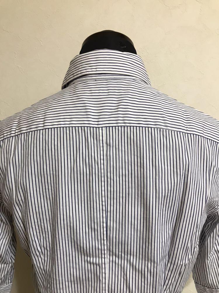 Polo Ralph Lauren ポロ ラルフローレン レディース ストライプ シャツ トップス サイズ2 七分袖 ホワイト ネイビー_画像4