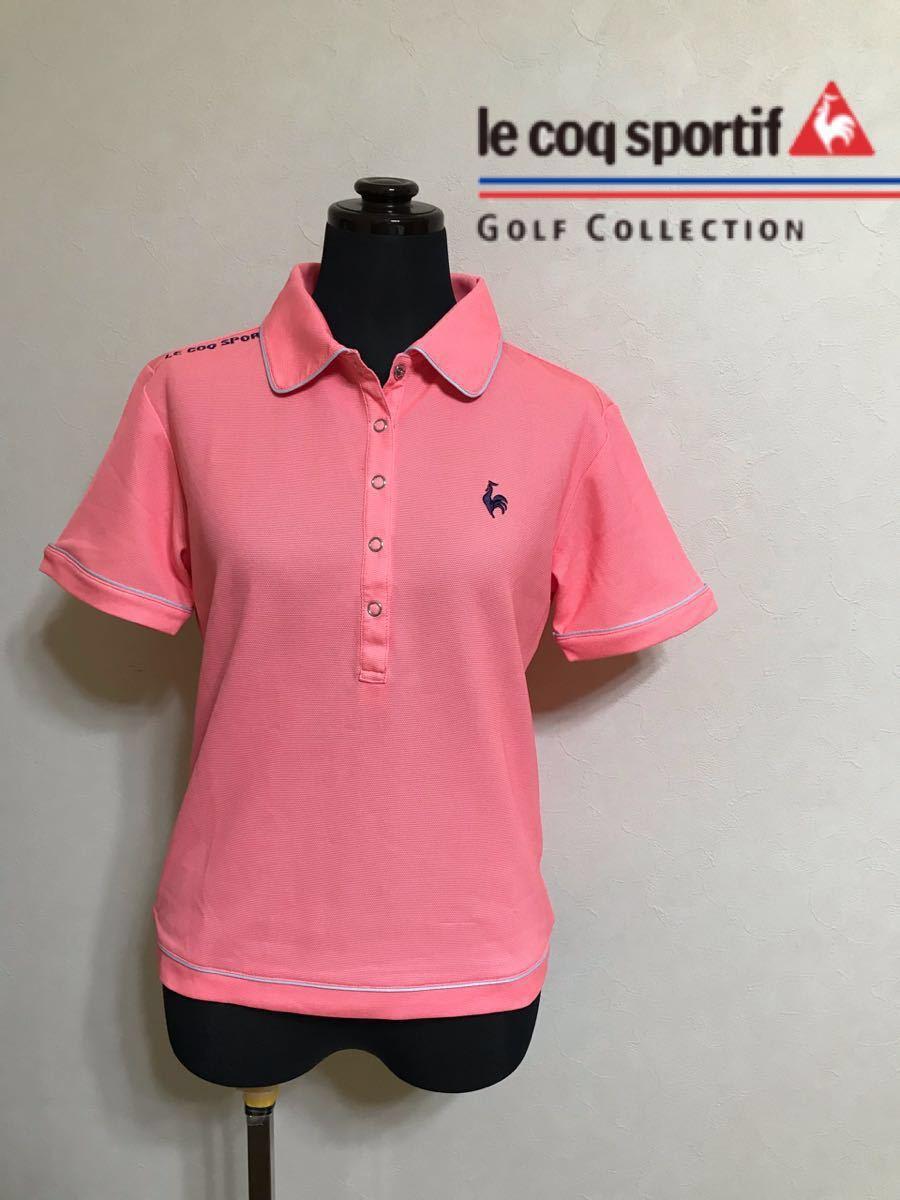 le coq sportif GOLF COLLECTION ルコック ゴルフ ウェア レディース ドライ ポロシャツ トップス サイズS 半袖 ピンク デサント QGL1651_画像1