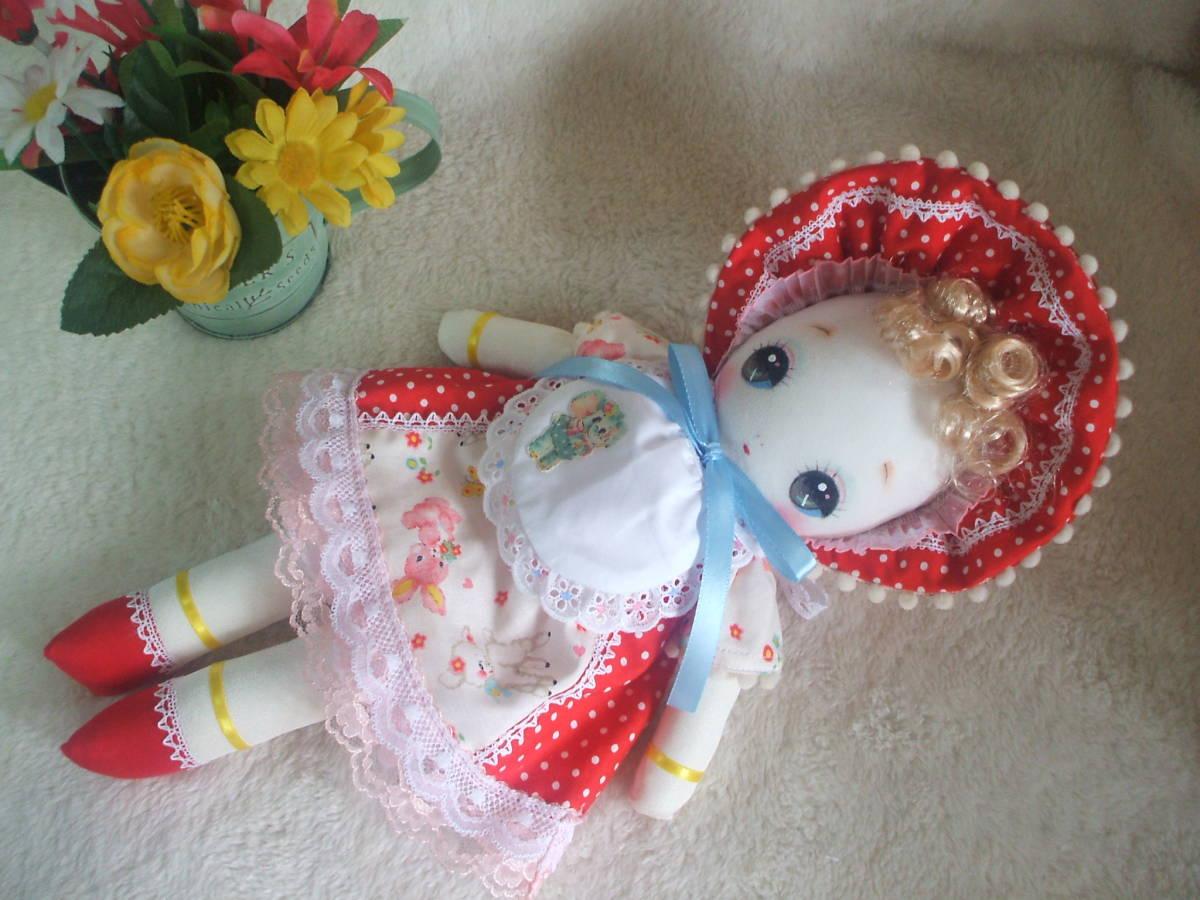 「一年さくら組」文化人形…赤色のボンネットの可愛い子36㎝・昭和レトロ・正絹古布・ハンドメイド・ぬいぐるみ